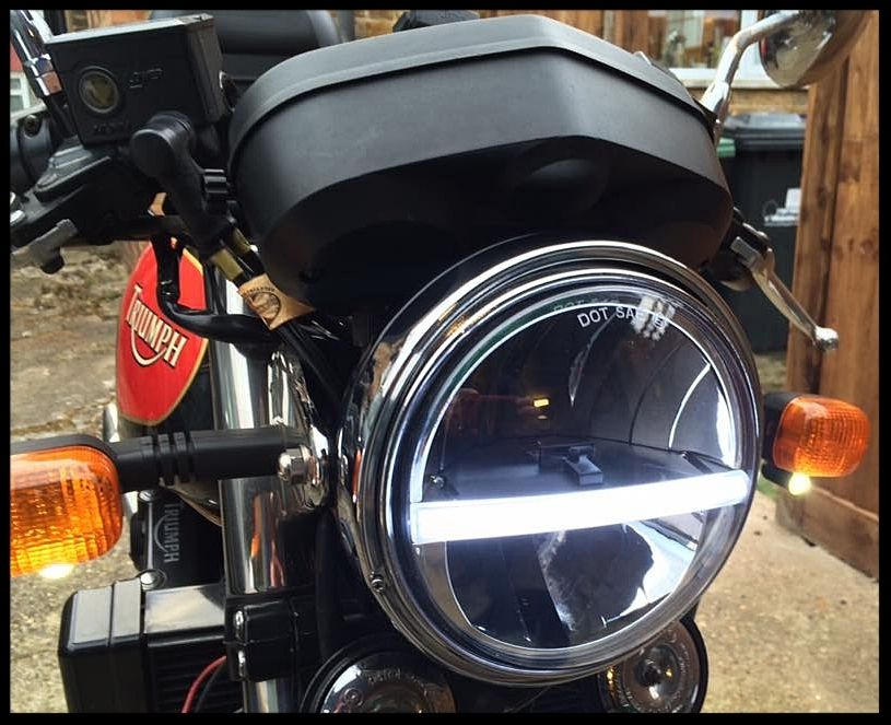 Cafe Racer Motorcycle Headlight : Headlight headlamp led cree light quot cafe racer