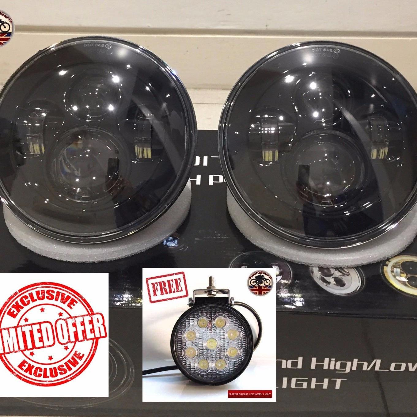 """Land Rover Defender 7"""" LED Headlights X2 DOT E Approved"""