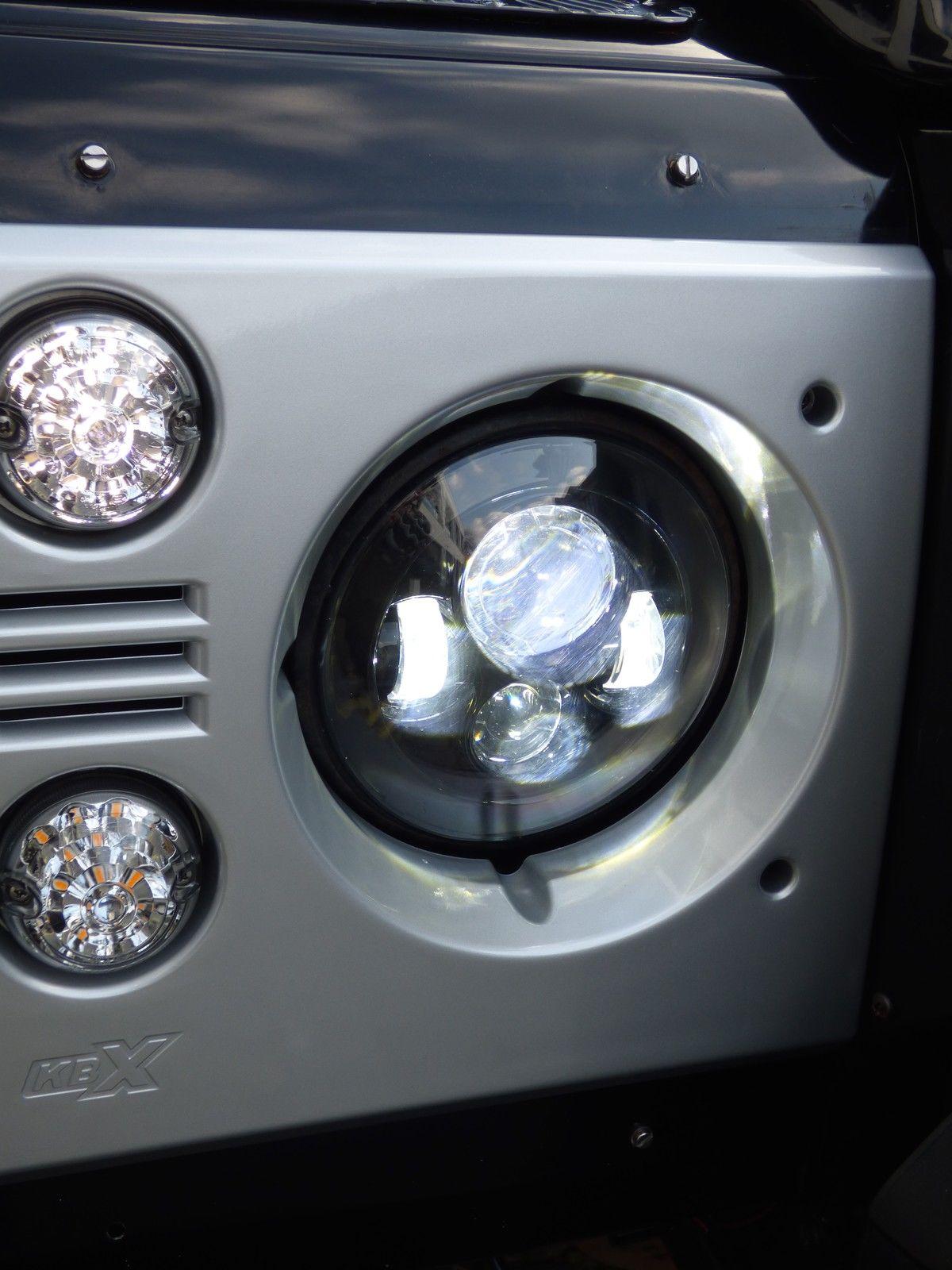 land rover defender 7 led headlights x2 dot e approved. Black Bedroom Furniture Sets. Home Design Ideas