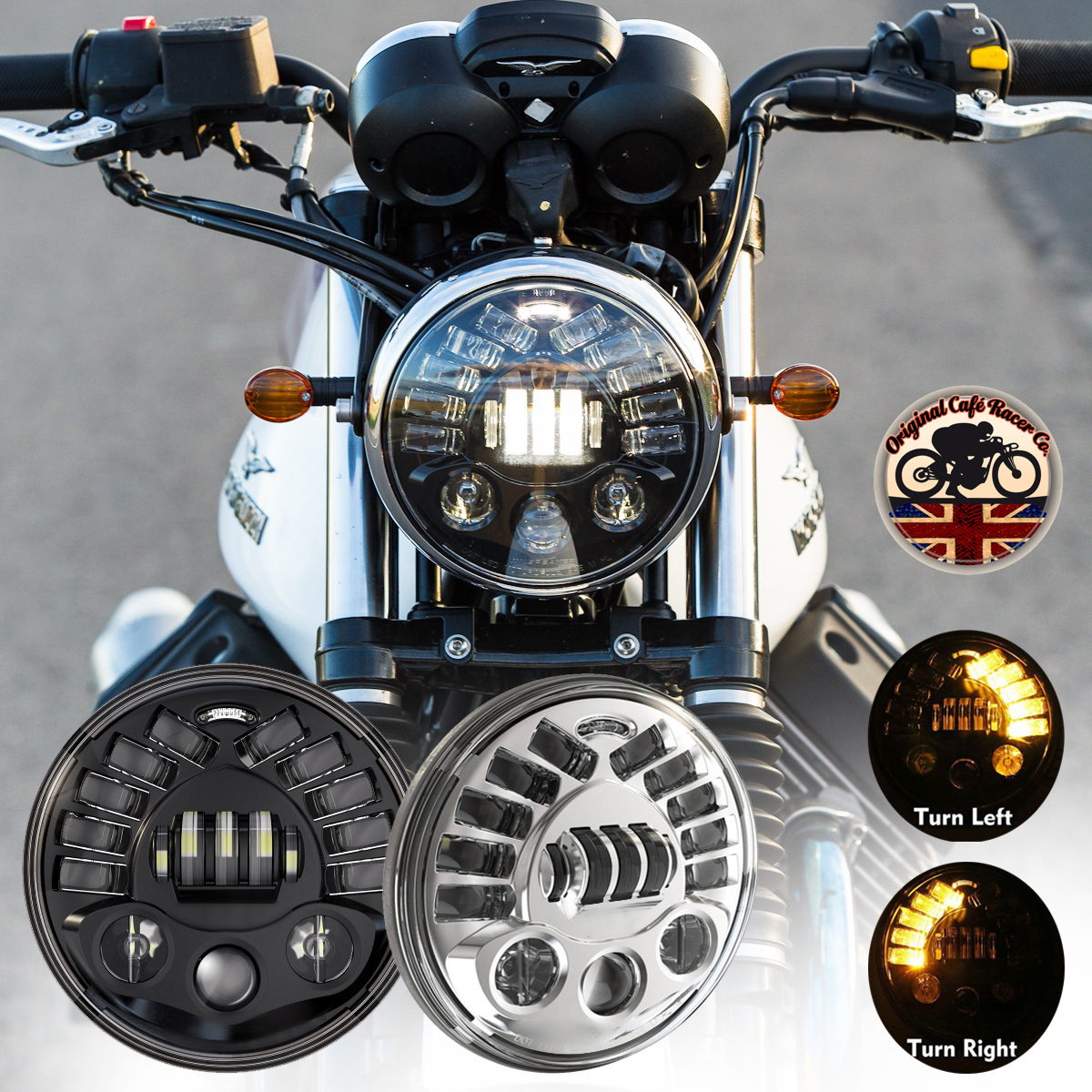 Headlight Headlamp Led Cree X 1 Light 7 Cafe Racer Motorbike Bike E